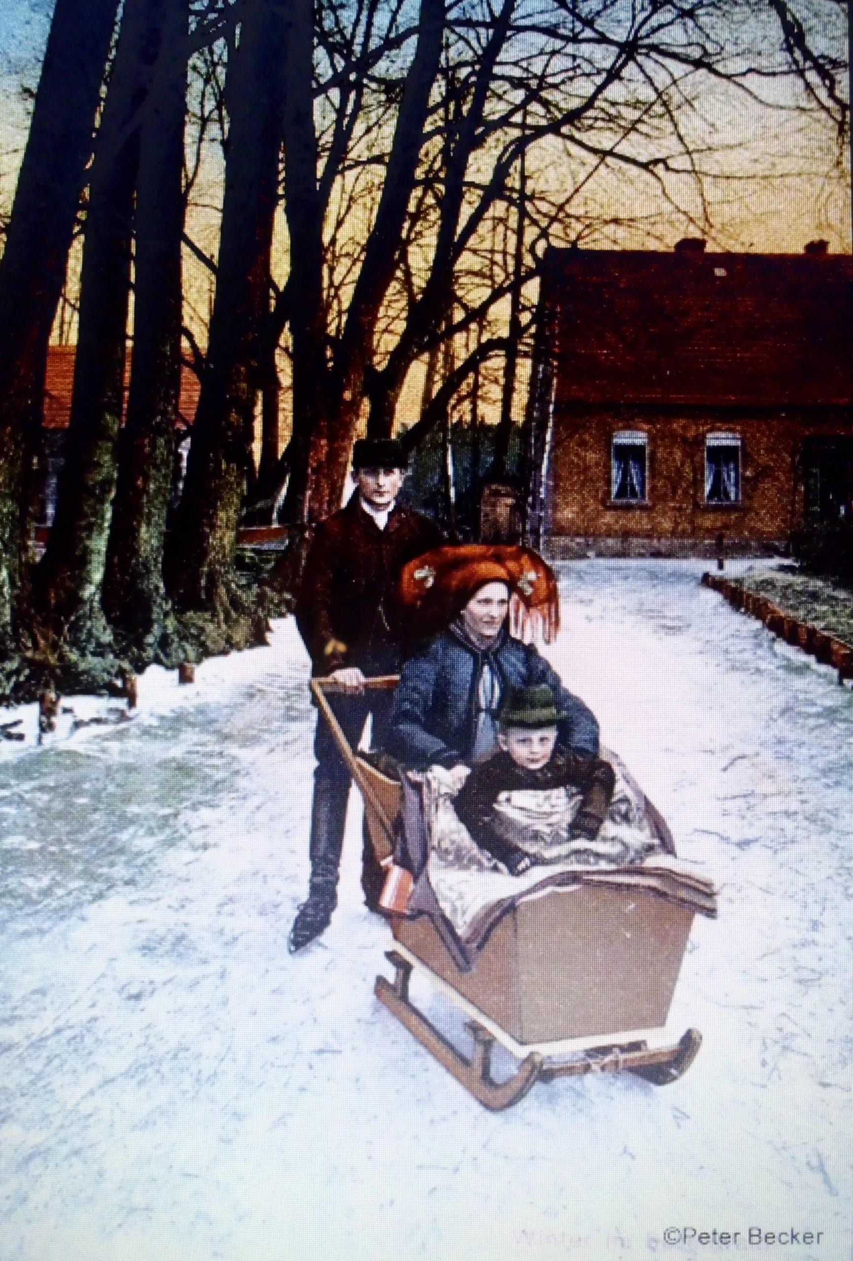Stossschlitten Familie Winter Spreewald